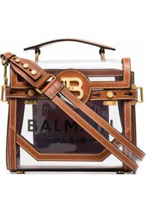 Balmain Bolsa Tiracolo De Couro Com Logo - Marrom