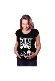 Camiseta Criativa Urbana Gestantes - Grávidas Raio X Engraçadas Preta