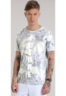 """Camiseta Estampada De Folhagem """"Future"""" Amarelo Claro"""