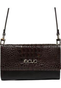 Bolsa Carteira Em Couro Recuo Fashion Bag Café/Croco