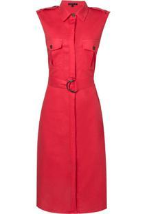 Vestido Dudalina Regata Chemise Liso Fivela Curto Linho Feminino (Vermelho Medio / Red, 36)