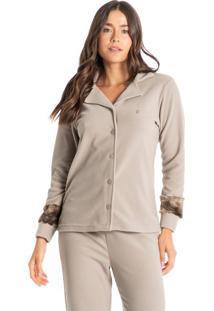 Pijama Longo Abotado Em Microsoft Gisela