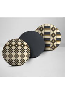Kit 3 Almofadas Redondas Elementos Geométricos