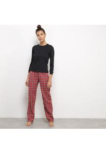 Conjunto Pijama Flora Zuu Longo Xadrez 3 Peças Feminino - Feminino-Vermelho