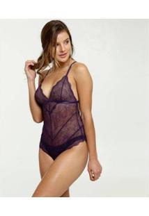 Body Marisa Sensual Renda Feminino - Feminino-Roxo