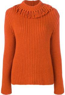 Bottega Veneta Fringed Neck Sweater - Laranja