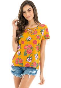 Blusa La Mandinne Comfort Strappy Estampada Flores Mostarda