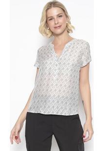 Blusa Com Seda Botões- Cinza Claro Branca- Vip Rvip Reserva