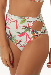 Calcinha Flee! Hot Pant Recorte Floral Branca - Tricae