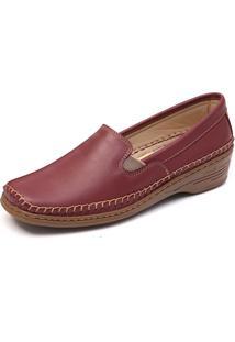 Sapato Conforto Com Elástico Mager Cor Vinho