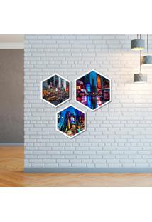 Kit 3 Quadros Com Moldura Hexagonal City