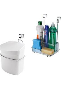 Kit Cozinha Lixeira Plástica 2,5 L + Organizador Porta Armário