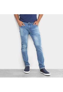 Calça Jeans Skinny Preston Estonada Puídos Elastano Masculina - Masculino-Azul Claro