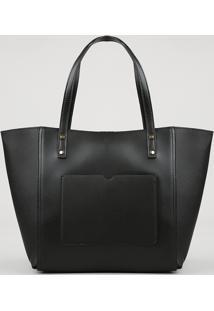 Bolsa Feminina Shopper Com Bolso Preta - Único