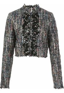 Giambattista Valli Jaqueta Cropped De Tweed - Preto