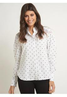 Camisa Le Lis Blanc Cler Poa Branco Feminina (Branco C/ Bolinha Preta, 42)