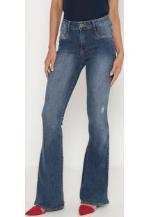 Jeans High Flare Estonado- Azul- Lança Perfumelança Perfume