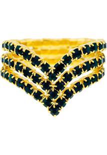 Anel Horus Import Verde Esmeralda Triplo Banhado Ouro Amarelo 18 K - 1010104