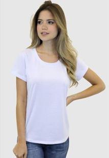 Camiseta Suffix Blusa Sem Estampa Basica Gola Redonda Feminina - Feminino-Branco