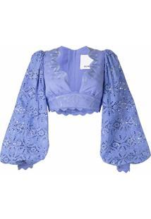 Acler Blusa Cropped Com Bordado De Tricô - Azul