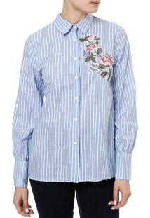 Camisa Manga Longa Feminina Azul P