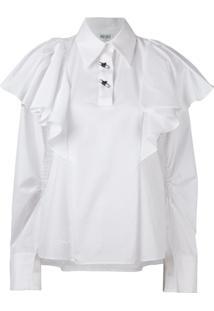 Kenzo Blusa Oversized Com Babados - Branco