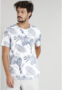 Camiseta Masculina Estampada Tropical Manga Curta Gola Careca Off White