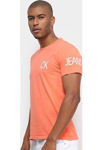 Camiseta Calvin Klein Logo Masculina - Masculino-Laranja