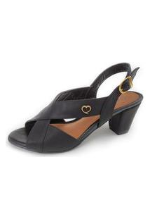 Sandália De Salto Couro Amo Calçados Lovely Preta