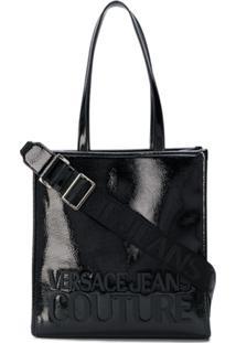Versace Jeans Couture Bolsa Tote Com Textura E Logo - Preto