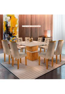 Conjunto De Mesa De Jantar Riviera Com Vidro E 8 Cadeiras Ll Suede Off White E Bege