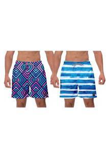 Kit 2 Shorts Moda Praia Masculina Azul Geométrico Listras Azuis Estampado Poliéster Elastano Banho Surf Esporte W2