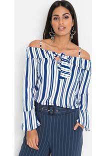 Blusa Ombro A Ombro Com Amarração Listrada Azul