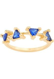 Anel Aro Liso Zircônias Triâgulares Rommanel - Feminino-Azul