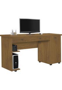 Mesa Para Computador Com 1 Porta E 1 Gaveta Ariel-Móveis Primus - Mel / Perola