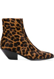 Saint Laurent Ankle Boot 'Leo' Com Animal Print - Marrom