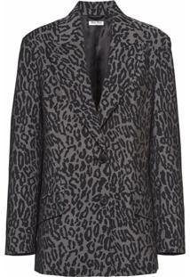 Miu Miu Blazer Com Estampa De Leopardo - Preto