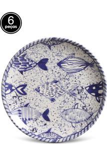 Conjunto 6Pçs Pratos De Sobremesa Porto Brasil Coup Fish Azul/Branco