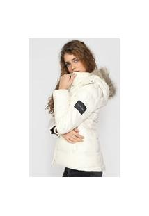 Jaqueta Puffer Calvin Klein Matelassê Off-White