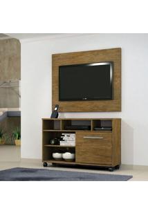 Rack Com Painel Para Tv 55 Polegadas Fusion Ipê 108 Cm
