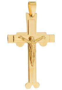 Pingente Crucifixo Grande Tudo Joias De Aço Inox Dourado - Unissex-Dourado