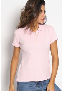 Polo Slim Fit Em Piqu㪠Com Bordado- Rosa Claro & Azul Claleatory
