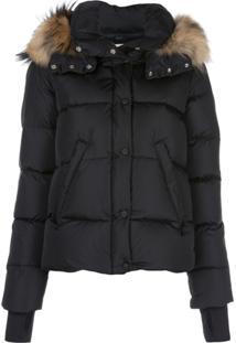 Sam. Fur Hood Trim Puffer Jacket - Preto