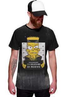 Camiseta Di Nuevo Bart Preso Preta Preta