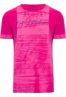 Camiseta Masculina Estampa E Aplique - Rosa