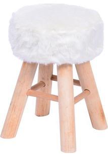 Puff Glamour- Branco & Bege- 40Xø28Cm- Or Designor Design