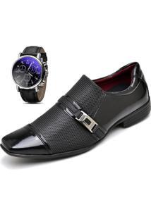 Sapato Social Relógio Verniz Zaffiori E2030L Preto