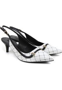 Scarpin Couro Jorge Bischoff Chanel Estampado Bico Fino Feminino - Feminino-Branco+Preto