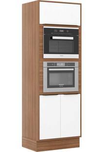 Armário De Cozinha 3 Portas P/ Embutir C/ Rodapé 5404Rmf Nogueira/Branco - Multimóveis