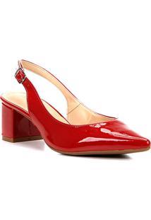 Scarpin Shoestock Salto Baixo Verniz Bico Fino - Feminino-Vermelho